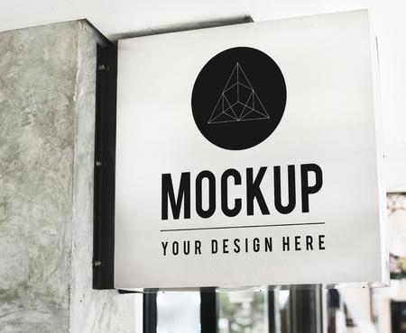Minimal shop sign mockup with geometric design