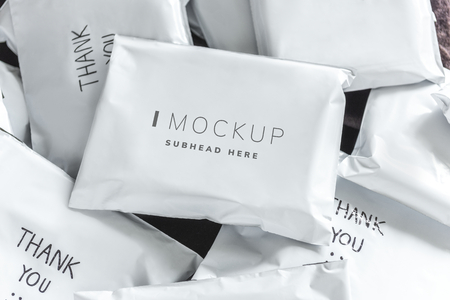 Pile of online shopping package mockups