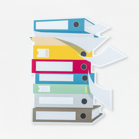 Stack of document folders icon isolated
