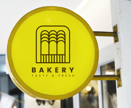 Bakery store's yellow shop sign mockup Stock Photo