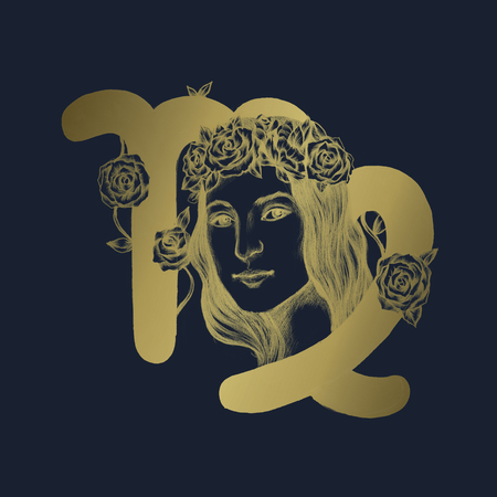 Hand drawn horoscope symbol of Virgo illustration Stock Photo