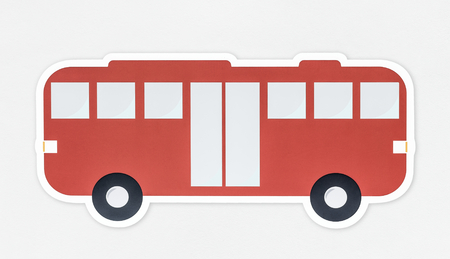 Side view of a red bus icon