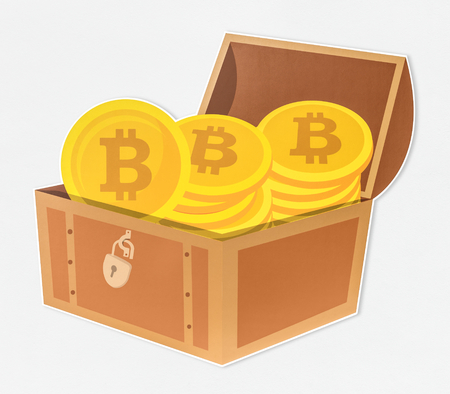 Stack of bitcoins in a treasure chest