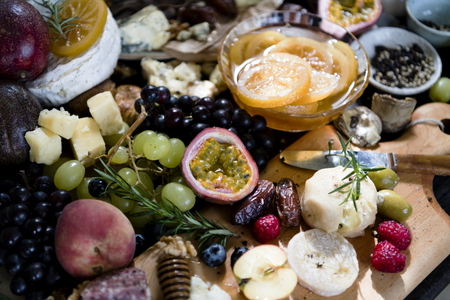 Cheese platter food photography recipe idea Stock Photo