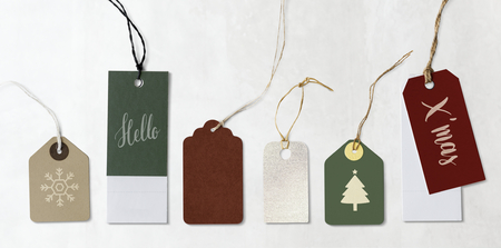 Colorful Christmas labels and tags mockups Stock Photo
