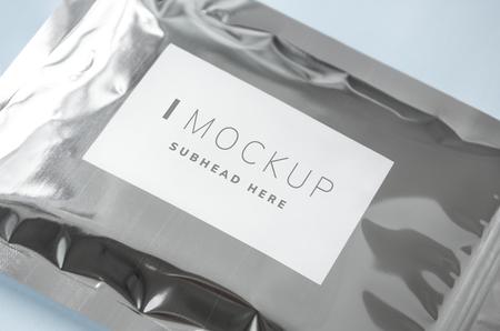 Resealable metallic packaging bag mockup