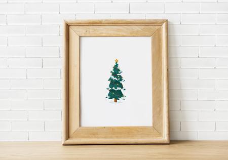 Festive wooden frame template mockups Stock Photo