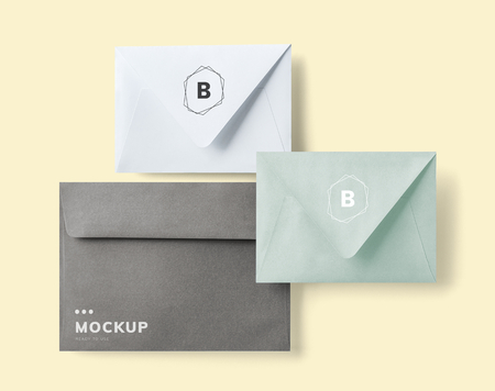 Closed envelope mockups with invitation cards