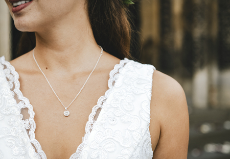 Close up of a bride with a diamond necklace Stock fotó