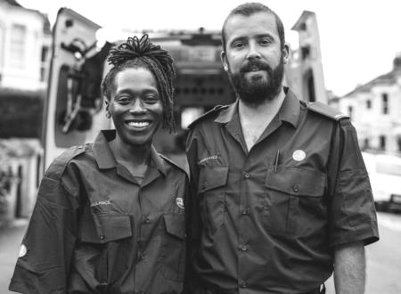 Portrait of a team of paramedics Stock Photo