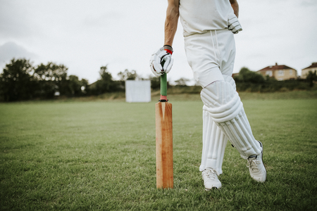 Cricket player standing on a field Standard-Bild - 113891646