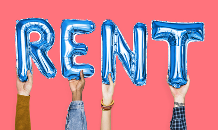 Blue alphabet balloons forming the word rent Standard-Bild - 113917722