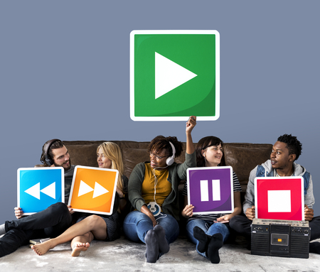 People holding media player icons and a play icon