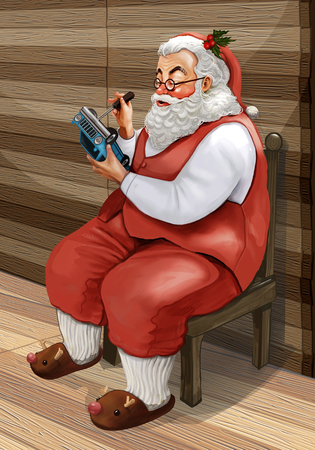 Hand drawn Santa Claus making Christmas presents for kids at his workshop