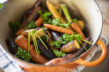 Mixed roasted vegetables in a pot