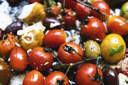 Roasted tomatoes food photography recipe idea