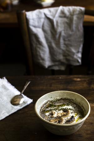 Homemade mushroom soup food photgraphy recipe idea 写真素材