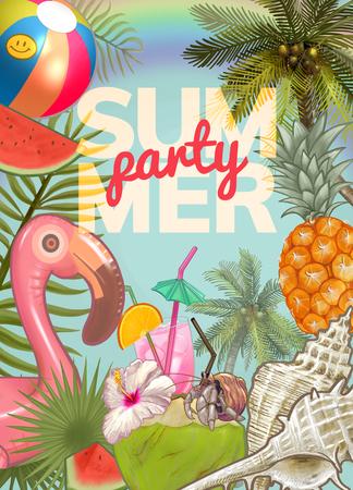Tropical summer party invitation design Stock Photo