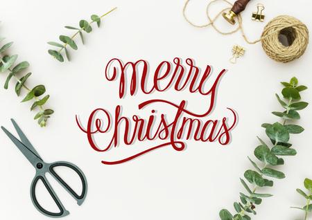Mockup di design di auguri per le vacanze di Natale Archivio Fotografico