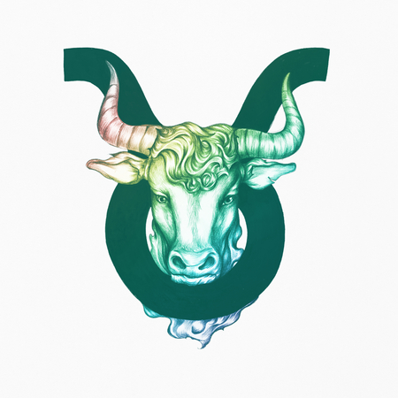 Hand drawn horoscope symbol of Taurus illustration 版權商用圖片