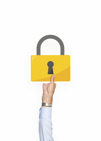 Hand holding a padlock clipart