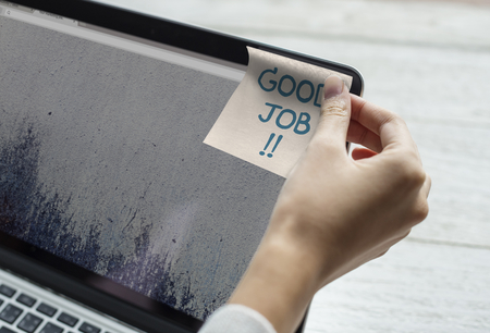 Good job written on a sticky note Stockfoto