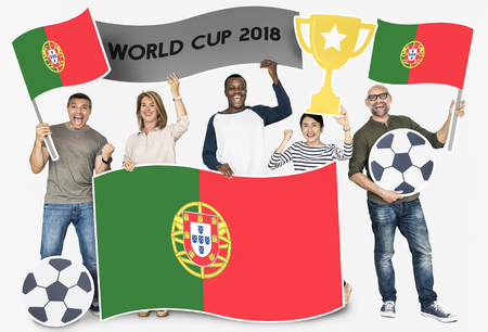 Diverse football fans holding the flag of Portugal