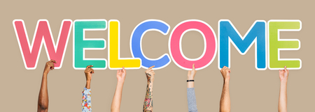 Hands holding the word welcome Stock fotó