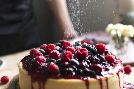 Mixed berries cheesecake sprinkled with white powder Banque d'images - 113955176