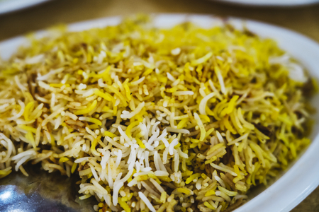 Traditional Pakistani chicken biryani closeup Stock Photo