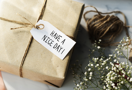 Present box with Have a nice day tag