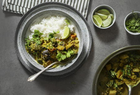 Plated vegetable curry with rice