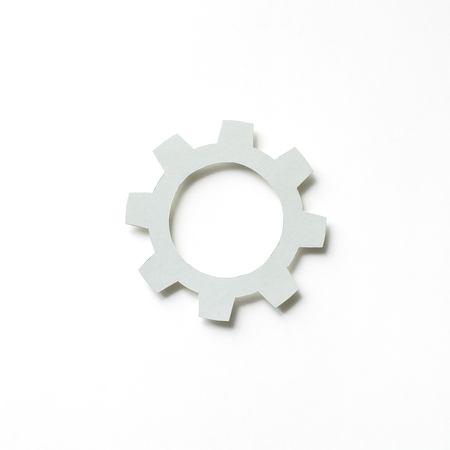 Paper craft art of cog icon Stock Photo