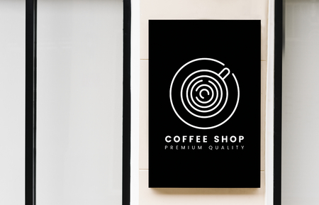 Minimal coffee shop sign mockup