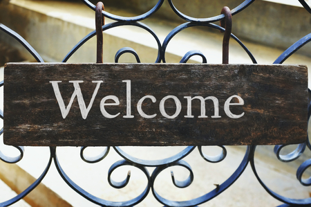 Wooden welcome sign mockup