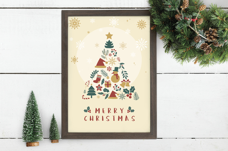 Merry Christmas festive poster mockup Stock Photo