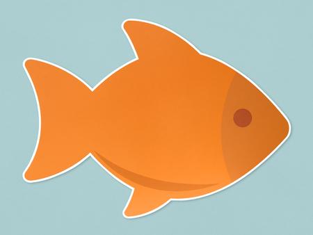 Orange fish icon isolated on blue background