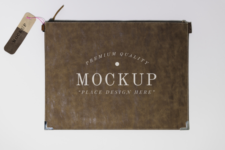 Flat brown leather purse mockup