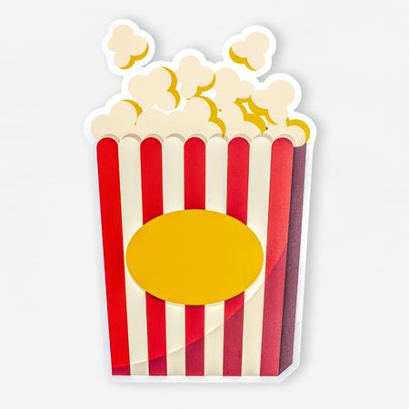 A bucket of popcorn icon illustration Banco de Imagens