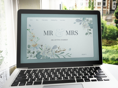 Wedding blog on a laptop screen mockup