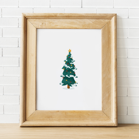 Festive wooden frame template mockups Stock Photo