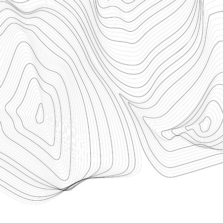 Black and white abstract map contour lines background