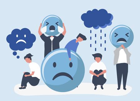 Persone con depressione e infelicità