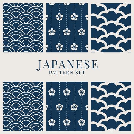 Ensemble de vecteurs de motifs d'inspiration japonaise Vecteurs