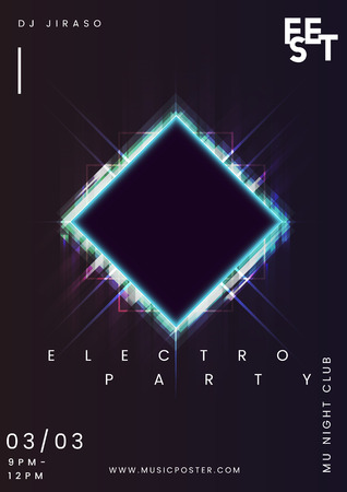 Night party music poster vector Çizim