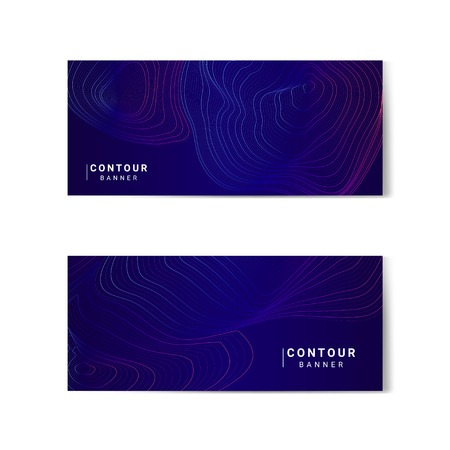 Blue and pink abstract map contour lines banners set Illustration