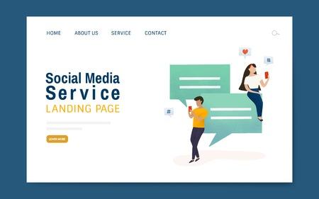 Social media service landing page layout vector Ilustração Vetorial