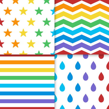 Collection of colorful seamless design patterns vector Çizim