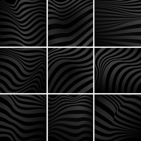 Set of black abstract background vectors Иллюстрация