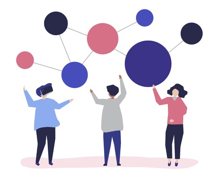 Character illustration of people with networking icon Illusztráció